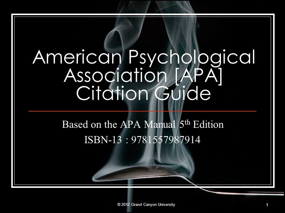 American Psychological Association [APA] Citation Guide